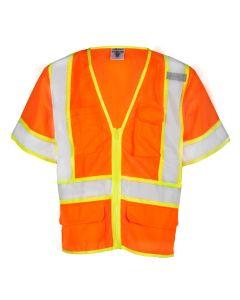 Orange 6 Pocket Contrast Mesh Vest