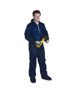 Radnor Blue Disposable coveralls. Polypropylene front zipper, attached - 64055232