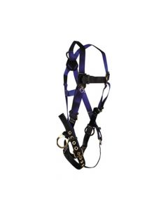 Contractor Non-belted Harness with 3 D-rings, Back and Side; Tongue Buckle Legs and Mating Buckle Chest