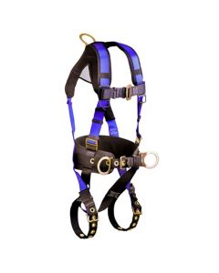 Contractor+ Construction Belted Harness with 3 D-rings, 1 back D-ring and 2 Side D-rings; Tongue Buckle Legs and Mating Buckle Chest