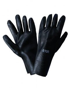 """10"""" Black PVC Chemical Glove, Unlined, Rough Textured-  sold by the DO - 816679016835"""