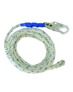 """Fall Tech-5/8"""" Premium Polyester Rope; with 1 Snap Hook and Braid-end. - 848013084859"""