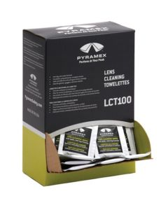 PYRAMEX, 100 Individually packaged Lens Cleaning Towelettes in a box - 814992004706